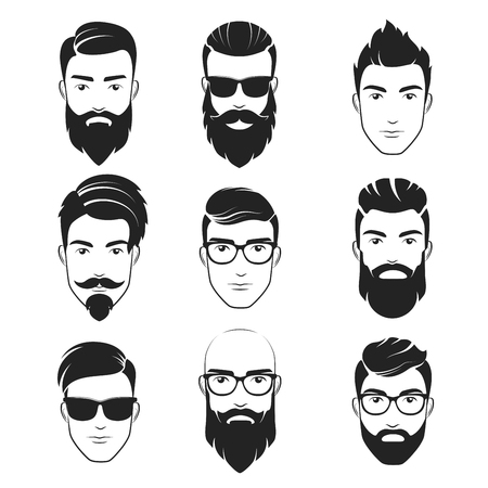Set of vector bearded hipster men faces, haircuts, beards, mustaches set Handsome man emblems icons. Ilustração
