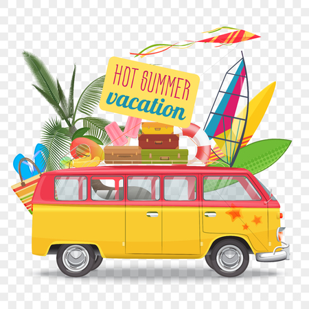 Summer travel vector illustration with bus Beach concept.