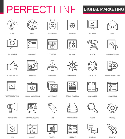 smartphone business: Digital Marketing thin line web icons set. Online business outline stroke icons design.