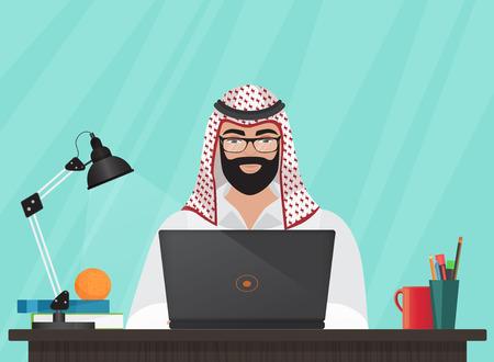 mid adult men: Arab muslim businessman or programmer sitting at his office Desk working with laptop. Cartoon vector Illustration.
