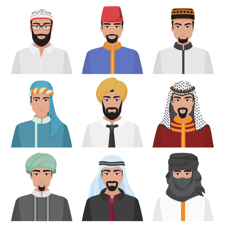 중동 남자 아바타 집합입니다. 아라비아 이슬람 남성 얼굴 컬렉션입니다. 벡터 일러스트 레이 션.