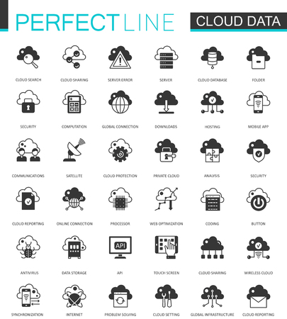 Black classic Data cloud technology web icons set. Global connection icon. Stock Vector - 80720354