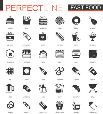 ice tea: Black classic Fast Food web icons set.