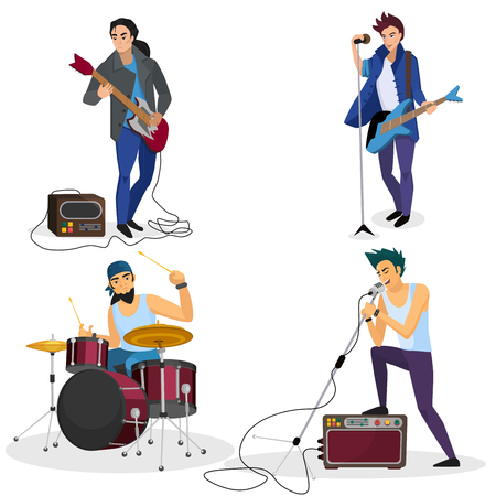 Rock band members isolated. Musical group singer, drummer, guitar player cartoon vector illustration.