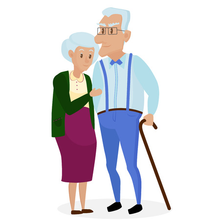 Happy grandparents together isolated. Grandparents day. Grandpa and grandma. Elderly couple. Cartoon vector illustration