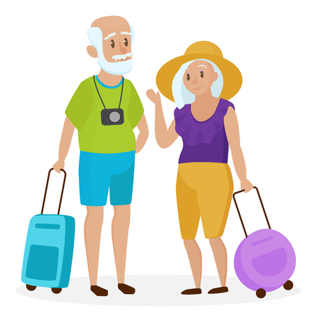 Old people tourists with suitcases. Happy grandparents travelers. Grandpa and grandma. Elderly couple traveling. Cartoon vector illustration Illustration