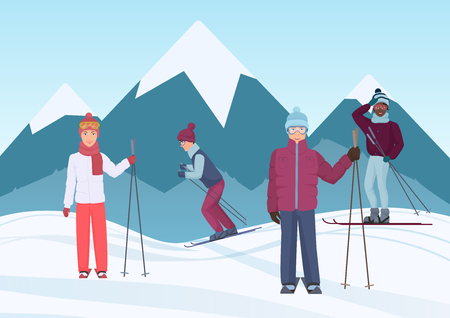 A group of people riding skies in the mountains vector illustration. Ski people Illustration