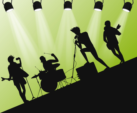 dancing club: Hard Rock band silhouette on stage in action angle with searchlights. Illustration