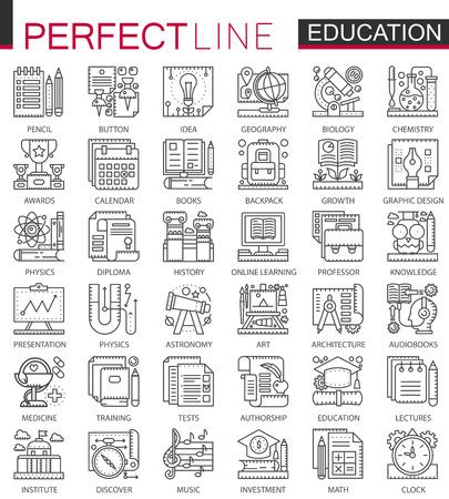 Education outline mini concept symbols. Modern stroke linear style illustrations set. School university perfect thin line icons. Vettoriali