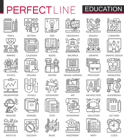 Education outline mini concept symbols. Modern stroke linear style illustrations set. School university perfect thin line icons. Illustration