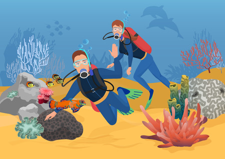 Vector illustration of scuba divers greeting while swimming in ocean reef. Ilustração