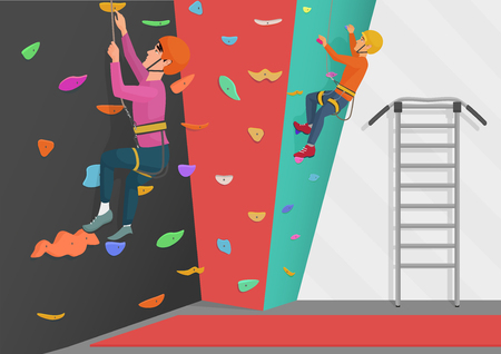 Vector illustration of two people training on rock-climbing wall.