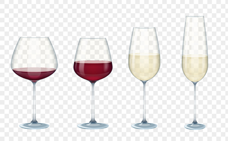 Set transparent vector wine glasses with white and red wine on the alpha transparent background. Vector illustration.