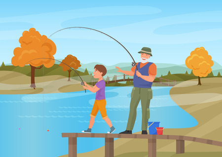 Vector illustration of mature man standing on pier with boy grandson and fishing. Autumn summer background. Imagens - 83148123