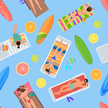 cartoon umbrella: Abstract seamless summer pattern top view. From above summer people in swimming pool. Summertime people with citrus lemon, Umbrellas, towels and sunbeds. Cartoon vector illustration