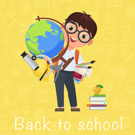 Cute pupil Boy. Back to School isolated cartoon character with globe on yellow background woth icons. Vector illustration.