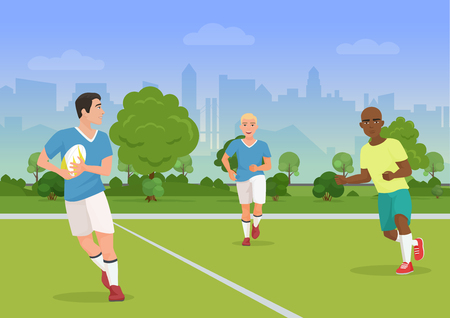 Vector illustration of cheerful black and white people playing rugby on the playground.