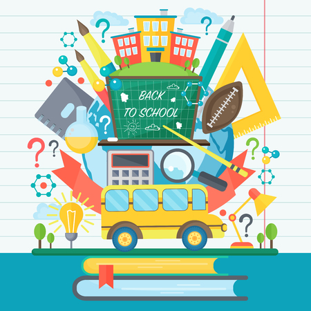Back To School Banner with bus and flat icon set on Chalkboard. Vector Flat Illustration. School Education Concept. Vector illustration.