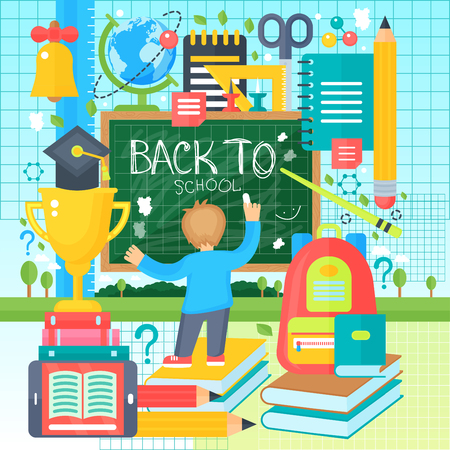 school class: Back To School Banner with boy drawing on the Chalkboard. Vector Flat Illustration. School Education Concept. Vector illustration. Illustration