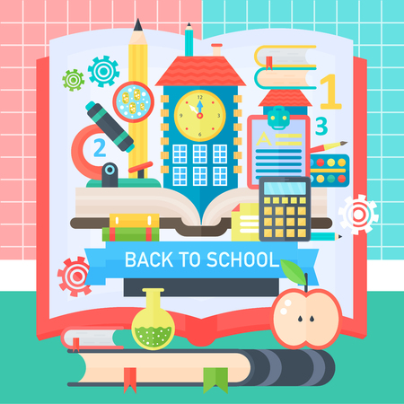 school class: Back To School Banner with book, education icons and school bulding. Vector Flat Illustration. School Education Concept. Vector illustration. Illustration