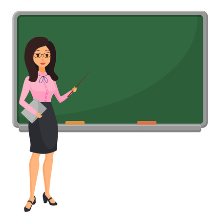 Young female teacher near blackboard teaching student in classroom at school, college or university. Flat design cartoon woman character Vectores