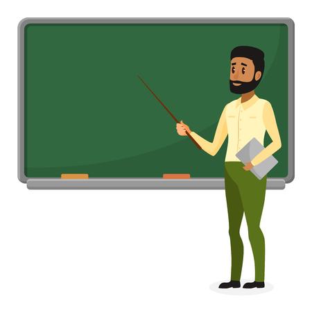 Young Arab teacher in modern clothes standing near blackboard in classroom at school, college or university. Flat design cartoon brazil or muslim male character.