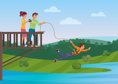 Woman doing bungee jumping with the friends vector illustration. Bungee jumper. Extreme sport.