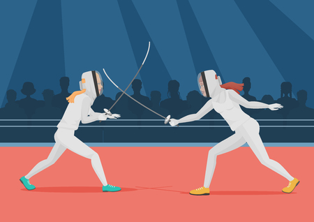 Two people doing fencing. Fencing championship vector illustration. Illustration