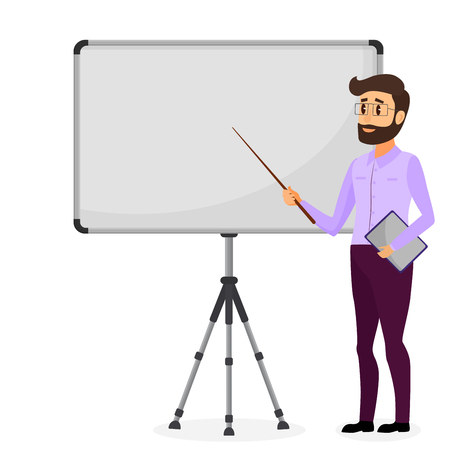 Business presentation. Successful businessman character making presentation. Business training. Vector cartoon flat illustration. Vectores