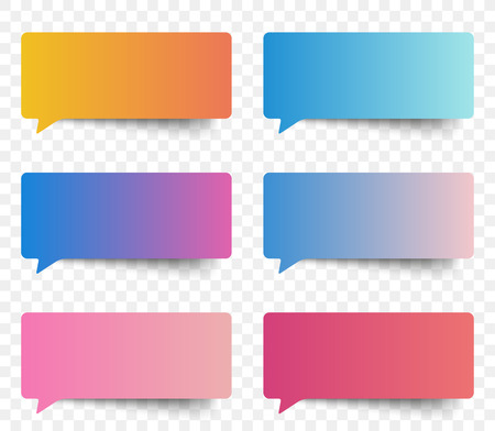 tweet balloon: Set of gradient color speech and thought sticker messages, tags conversation element for design. Modern vector illustration.