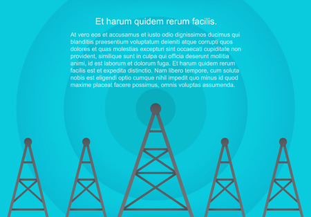 Telecommunications cellular towers in volumetric paper flat style. Data radar background. Illustration