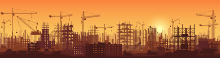 Wide high detailed banner illustration silhouette in sunset of buildings under construction in process. Vettoriali