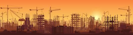 Breites hohes ausführliches Fahnenillustrationsschattenbild im Sonnenuntergang von Gebäuden im Bau im Prozess.