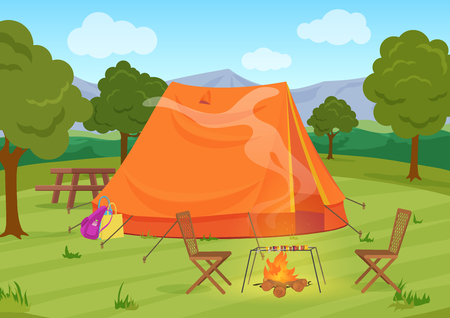rucksack: Walking, Hiking or Sports outdoor camping recreation landscape, nature adventures vacation illustration. Tent with fireplace.