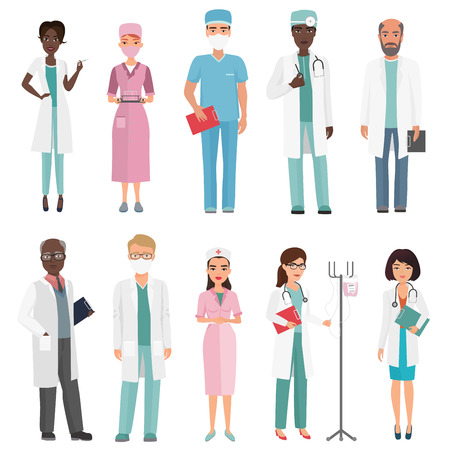 Doctors, nurses and medical staff. Medical team concept in cartoon flat design people character. Vettoriali