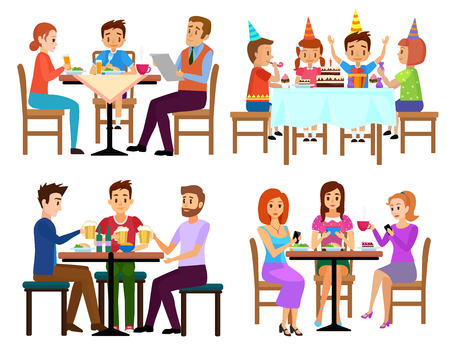 pareja comiendo: Eating adults and kids set sitting in restaurant cafe or bar isolated vector illustration. People eating.