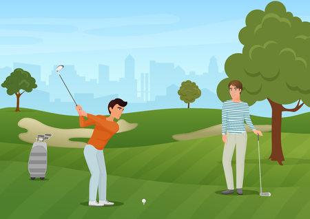 shot put: Group golfers friends characters on green background. Vector illustration. Illustration