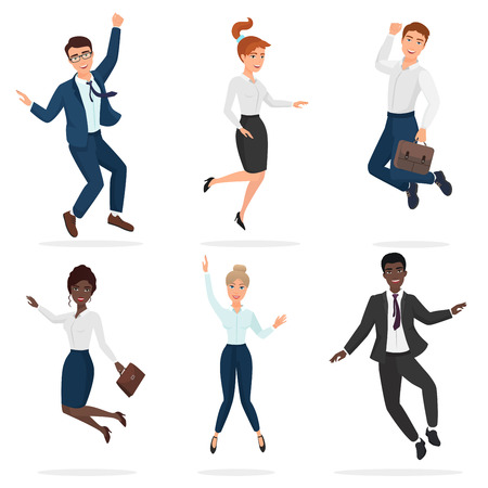 Business happy people celebrating a victory jumping. Jump multi ethic people.