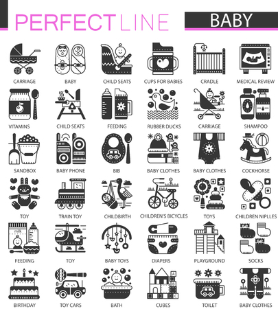 Baby classic black mini concept symbols. Baby modern icon illustrations set.
