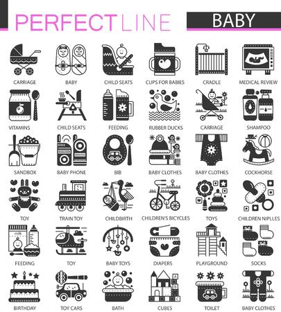 Baby classic black mini concept symbols. Baby modern icon illustrations set.
