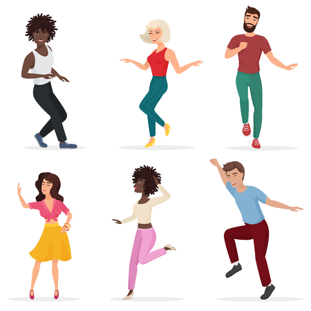 Dancing young people. Happy multi ethic men and women move to the music. Vector cartoon flat illustration. Illustration
