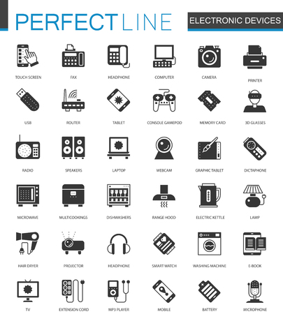monitor: Black classic electronic devices icons set.
