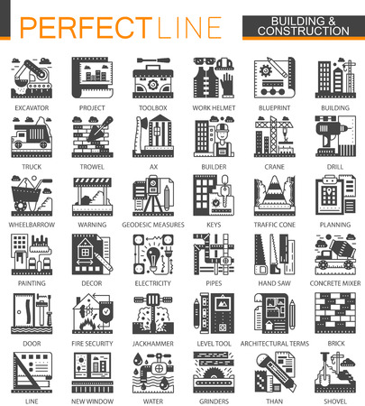 Building, construction and home repair tools classic black mini concept symbols. Vector modern icon pictogram illustrations set.