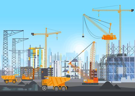 Bouwplaats in aanbouw website met torenkranen. Bouwproces met huizen en bouwmachines. Vector illustratie.