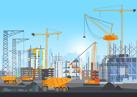 Building city under construction website with tower cranes. Building work process with houses and construction machines. Vector illustration. 向量圖像