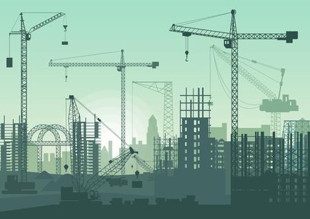 Tower cranes on construction site. Buildings under construction. Çizim