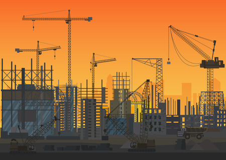 Construction Skyline under construction sunset silhouette. Web Site head of new city exterior. Vector illustration. Фото со стока - 85779757
