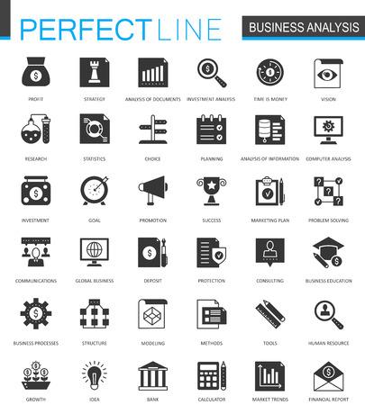 Zwarte klassieke bedrijfsanalytics geplaatste pictogrammen.