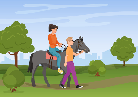Man leading the horse with the woman riding on it vector illustration. Stok Fotoğraf - 85779764