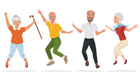Group of elderly people together. Active and happy old senior jumping. Cartoon vector illustration.